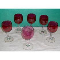 Lote 6 Antiguas Y Hermosas Copas Jerez Color Rubí Y 1+ Clara