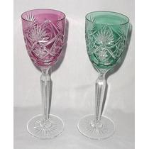 Par Copas Altas Cristal Francés Tallado Verde Y Rosa 22 Cms