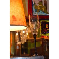 4 Copas De Champagne Cristal Pie Negro Francia