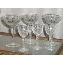 534- Excelentes Copas De Cristal Tallado Champagne Y Jerez