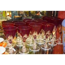 18 Copas Cristal Facetas Color Rubí. El Precio Es Por Unidad