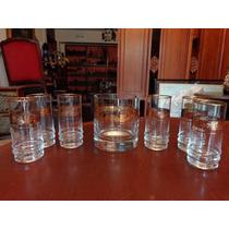 Seis Vasos Trago Largo Con Hielera En Cristal Borde Oro I23