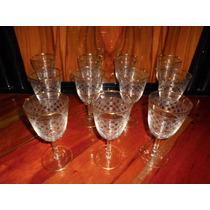 11 Antiguas Copas Vino Grabadas Bordes Dorados (ángela)