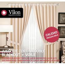 Cortina Doble Blackout Textil + Voile 2 Paños 1,40x2,10 C/u