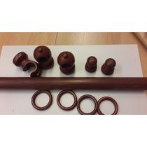 Kit Barral Madera P/ Cortina Color Cedro ( 33 Mm X 2 M )