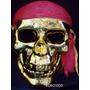Mascara Calavera Pirata Dorada Pañuelo Rojo