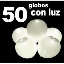 50 Globos Blancos Con Luz Led Fiestas Boda Evento