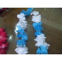 Collar Hawaiano C/flores De Tela Celestes Y Blancas
