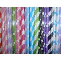 48 Sorbetes De Papel Con Rayas O Con Lunares . Candy Bar