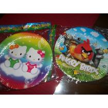 Plato De Carton Plastificado X 10 Angry Birds/kitty/feliz C