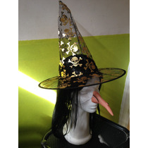 Set X4 Para Disfraz Bruja Peluca Nariz Led Gorro Halloween