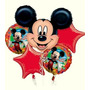 Kit Bouquet 5 Globos Mickey Listos P/ Inflar Helio O Aire