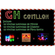 Pack X 30 Vinchas Minnie Diablo Fibra Optica Cotillon Led