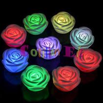 Cotillon Velas Luminosas Led Flores Flotantes Grande 10 Uni