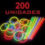 Pulseras Neon Quimicas Pack X 200 Cotillon Luminoso