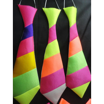 Corbatas Cotillon Corbatones Tela Fluo X 6 Multicolor