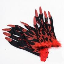 Guante Oro Y Rojo Con Uñas Para Halloween
