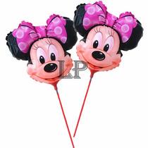 Globos Cumple Fiestas Cara De Mickey Y Minnie Con Varilla