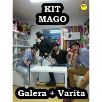 Sombrero Gorro Galera Mago + Varita Mágica !!! (sin Conejo)