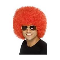 Peluca Afro Roja - Peluca Afro Roja Accesorio Disfraz Disco