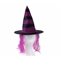 Sombrero De Bruja De Vinilo Rayado Con Pelo /halloween