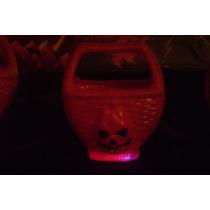Halloween Calabaza Canastita Caramelera Con Luz