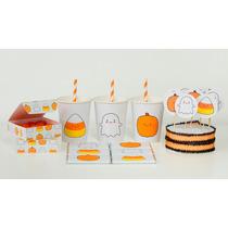 Halloween Fantasmitas Kit Deco Impresión Y Recorte