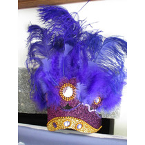 Cotillon, Carnaval Carioca Vincha Corona Cn Plumas 15 Años,