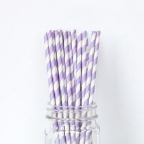 Sorbetes De Papel Rayados ( Violeta Claro Y Blanco)