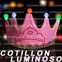 Corona Rosa Con Luces Led Vincha Cotillon Luminoso Fiesta