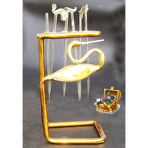 Antiguo Juego De Pinches De Cristal Soplado Y Oro De 1933