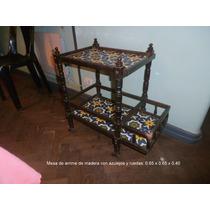 Mesa De Arrime Antigua Con Azulejos Y Ruedas Para Restaurar