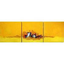 Triptico Obras Abstractas Texturadas Acrilico Oleo Patinas