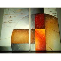 Cuadro Texturado Diptico Abstracto En Oleo. Olivos