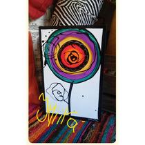 Cuadros Abstractos Modernos Flor Pintados A Mano !!!!