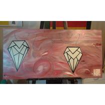 Cuadro Óleo Prismas Diamantes, Tonos Platas Y Rojos 120x60