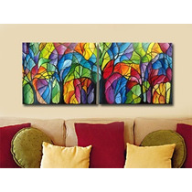 Cuadros Modernos Pintados A Mano - 120x50 Cm