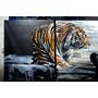 Cuadro Tripticos Un Tigre Una Mujer En Lienzo 155x60 Cms