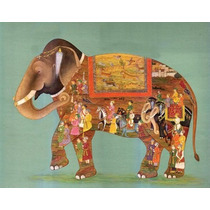 Elefante Madhubani 4 En Tela Canvas De 30x38 Cm - Exelente