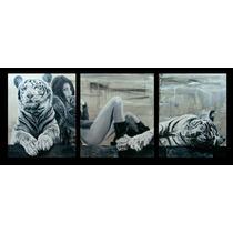 Cuadro Tigres En Blanco Y Negro, Cabeceras De Dormitorio