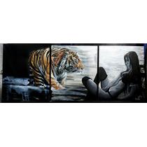 Cuadro Tigre Y Mujer Moderno, Lienzo 100% Algodón Y Bastidor