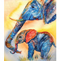 Elefante Madre E Hijo En Tela Canvas De 70x60 Cm Exelente