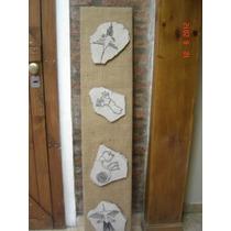 Cuadro - Tabla Forrada En Arpillera C/ Lajas Decoradas