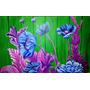 Cuadro Flores Fluor Acrilico Diseño Unico