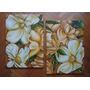 Cuadro Díptico Flores Pintura Oleo En Bastidor De 70x50 Cm