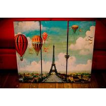 Set De Cuadros Paris Vintage. Tríptico. Decoupage