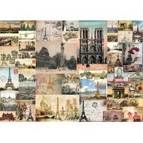 Cuadro De Post Card De Paris En Canvas Con Bastidor 120x85