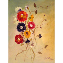 Cuadros Decorativos, Tríptico, Flores, Arte, Óleo, Pintura