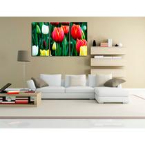 Flores Tulipan En 3 Partes Tela Canvas 110 X 70 Cm .