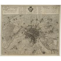 Cuadro Mapa De Paris Tela Canvas Con Bastidor 105x90